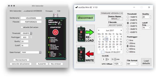 Mac und Windows Software für den Mini-batcorder