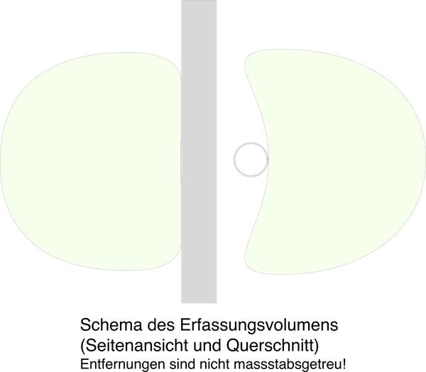 Schema des Erfassungsradius des Turm-Mikros